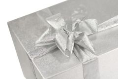 Silver gift box witn a bow Stock Images