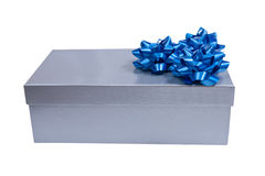 Silver gift box with a wrap bow isolated Stock Image