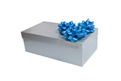 Silver gift box with a wrap bow isolated Stock Images