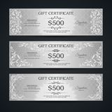 Silver gift certificate banners set VIP Vintage ornamental template with damask pattern and decorative frame. Silver gift certificate banners set. Vintage stock illustration