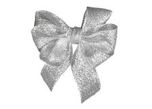 Silver gift decoration six loops bow Stock Image