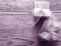 Silver gift or present boxes stock images