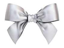Silver gift ribbon bow isolated on white background Stock Images