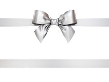 Silver gift ribbon bow isolated on white background Royalty Free Stock Photography