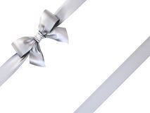 Silver gift ribbon bow isolated on white background. 3D rendering Stock Images