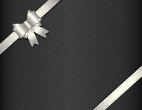 Silver gift ribbon with gift paper Royalty Free Stock Images