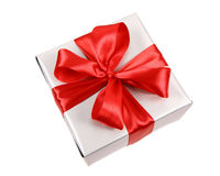 Silver Gift With Red Bow Stock Photography