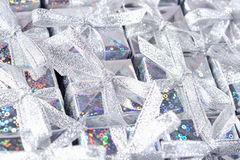 Silver gifts as background Stock Photography