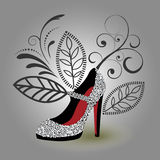 Silver glamor shoe. Silver beaded handcrafted glamor shoe Stock Images