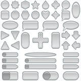 Silver glass buttons, set Stock Photography
