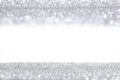 Silver glitter background. With white copy space Stock Photography