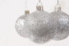 Silver Glitter Christmas Ornaments Stock Photos