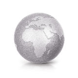 Silver Glitter globe 3D illustration europe and africa map Royalty Free Stock Photography