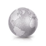 Silver Glitter globe 3D illustration North and South America map Royalty Free Stock Photography