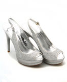 Silver Glitter shoes Royalty Free Stock Image