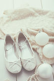 Silver glitter shoes Royalty Free Stock Photography