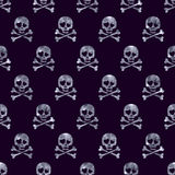 Silver glitter skulls in love seamless pattern Stock Photo