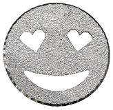 silver glitter  smiling face shining with heart-shaped eyes Royalty Free Stock Photos