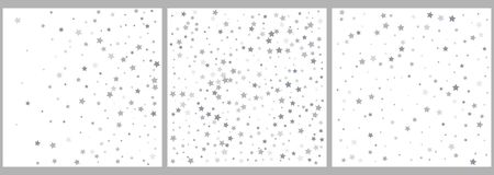 Silver glitter stars falling from the sky on white background. Abstract Background. Glitter pattern for banner. Vector royalty free illustration