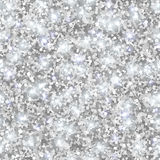 Silver Glitter Texture, Seamless Sequins Pattern. Vector Illustration. Lights and Sparkles. Glowing New Year or Christmas Backdrop. Silver Dust Royalty Free Stock Image