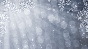 Silver glittering curtain with snowflakes stock footage