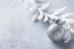 Silver glittering shining christmas ball. Festive background stock photo