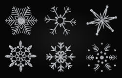 Silver glittering snowflakes vector illustration