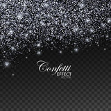 Silver glittering star dust. Silver Confetti Glitters and Stars. Vector Festive Illustration of Falling Shiny Particles. Sparkling Texture Isolated on Stock Photo