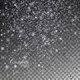 Silver glittering star dust. Silver Confetti Glitters and Stars. Vector Festive Illustration of Falling Shiny Particles. Sparkling Texture Isolated on Royalty Free Stock Image