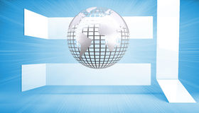 Silver globe on blue abstract background Royalty Free Stock Photos