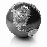 Silver Globe - North America. Silver globe - metal earth with realistic topography - north america, 3d render Stock Photo