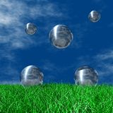 Silver Globes. 3D Logo and Symbol Business, Solution Stock Images