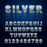 Silver glossy alphabet. Letters and numbers. Vector illustration Stock Photos