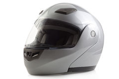 Silver glossy bike helmet isolated Stock Images