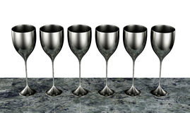 Silver goblets Stock Photo