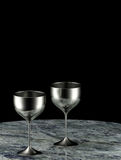 Silver goblets Stock Photos