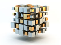 Silver and gold 3D Blocks. White background. Clipping path is included Stock Images