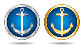 Silver and gold anchors icons. Royalty Free Stock Images