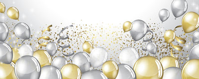 Silver and gold balloons Royalty Free Stock Photography