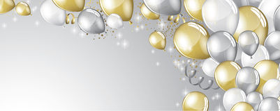Silver and gold balloons Stock Images