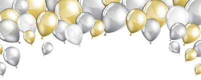 Silver and gold balloons Royalty Free Stock Image