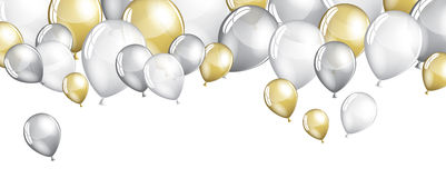 Silver and gold balloons Stock Image