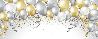 Silver and gold balloons Royalty Free Stock Photos