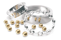 Silver and gold balls bearings on a white background. 3d rendering Royalty Free Stock Photo