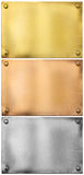 Silver, gold, bronze metal plates with rivets set Stock Images