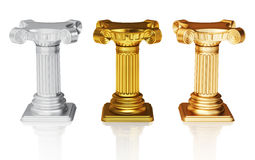 Silver gold and bronze pedestals Stock Image