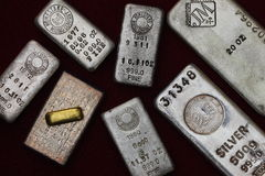 Silver & Gold Bullion Bars (Ingots) Royalty Free Stock Images