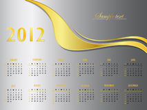 Silver and gold calendar 2012. Elegant illustration Royalty Free Stock Photography