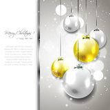 Silver-gold Christmas background Stock Photos
