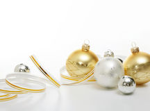 Silver and gold Christmas balls Royalty Free Stock Image